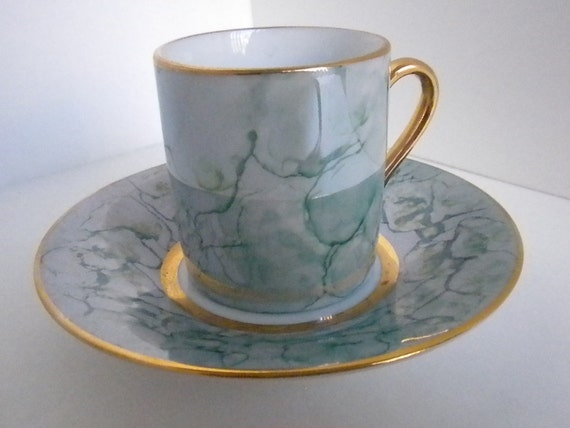 Vintage Tea Cup and Saucer, Herman Dodge & Sons, Inc, Hues and Blews