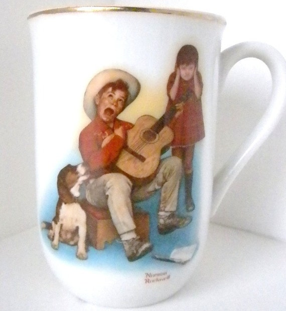 """Vintage Norman Rockwell, """"Sour Note"""",  Collectible Mug 1982"""