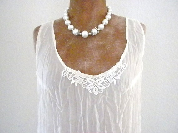 Vintage, Sheer,  Dress in off white with Beautiful lace, One Size Fits All