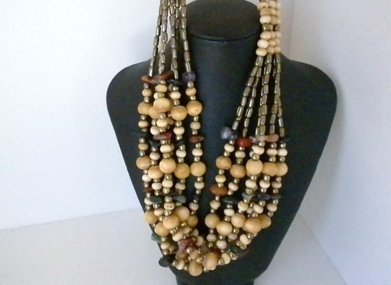 Vintage Long Beaded Necklace, 6 Strand