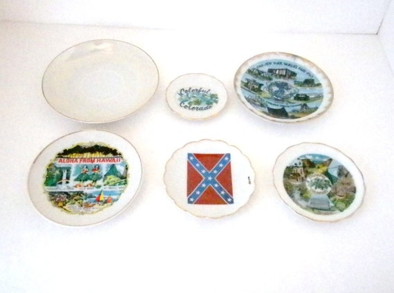 Six Vintage, Small , State Plates or Saucers