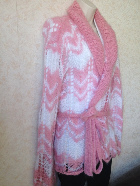 Unique designer ladies womens pink and white spring hand knitted pink and white crochet cardigan,sweater, jacket with belt and collar.