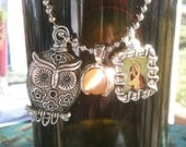 Silver Owl & Cats Eye Charm