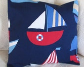 Pillow cushion sailing ship in red, white and navy blue, 16 x 16