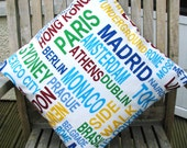 Cotton Pillow cushion, Metro cities of the World, 16 x 16, sale