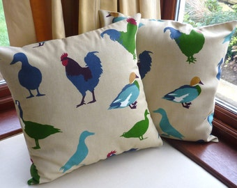 Chicken, ducks & geese pillow covers, pair, 16 x 16 in cream, blue and green
