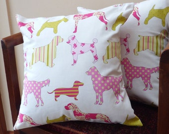 Pillow cushion featuring dogs in pink and lime, 16 x 16 pair