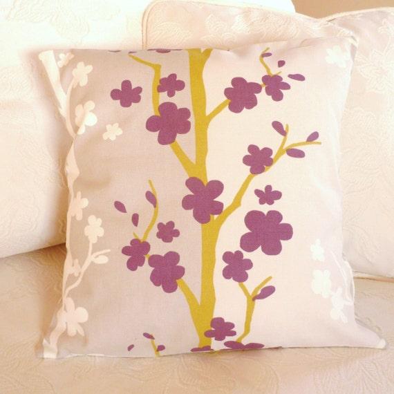 Pillow cushion designer fabric in aubergine and mushroom, 16 x 16 inches, SALE