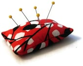 Modern Pincushion Ring, Red Black and White Pincushion Ring