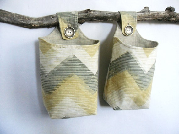 Fabric Hanging Baskets, Two Reversible Neutral Hanging Home Storage Baskets