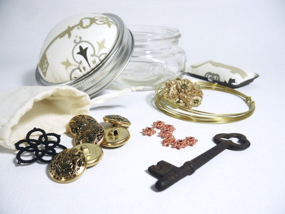 Steampunk Supplies Jar, Key Print Pincushion Jar with Steampunk Items