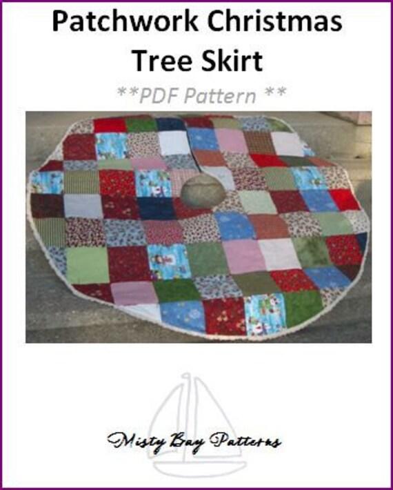 "Patchwork Christmas Tree Skirt - 60"" in diameter - PDF Sewing Pattern"