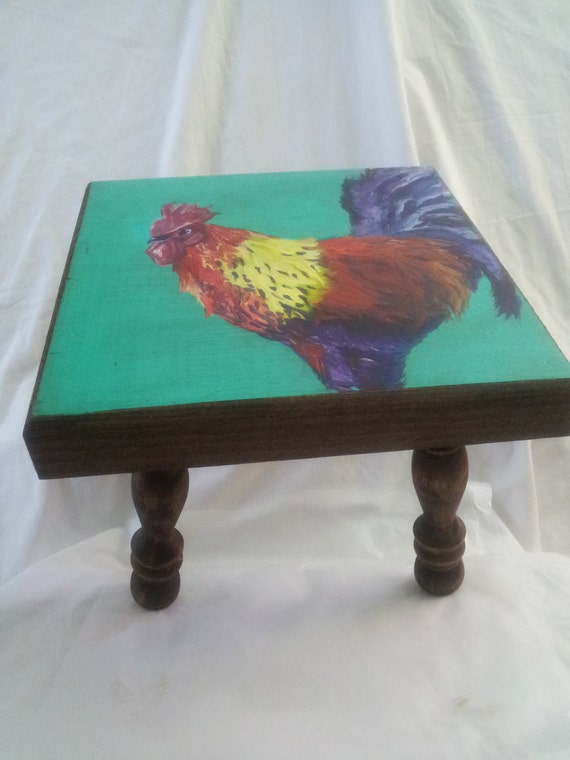 Wooden Stool Bench- Handpainted Rooster- Original Work