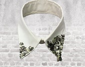 MICartsy Turndown White Collar Necklace with Hand Sewn Metal beads and rhinestones