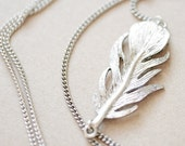 Vintage Long Silver Feather Necklace