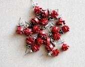 10 Pairs of Vintage Red Rose Stud Earrings