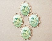 4 Large Gold Scalloped Bird Cameo Pendants for necklaces