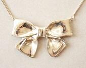Vintage Huge Gold Bow Necklace