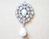 6 Elegant Silver Rhinestone Drops with pearls and pale blue stones for pendant necklaces or earrings