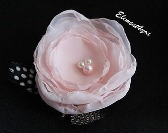 Pink Hair Flower Clip Wedding Fascinator Handmade Fabric Hair Flower Wedding Accessories Bridal Headpiece Bridesmaid Gift Bridal Hair Piece