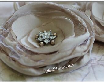 Champagne Flower Hair Clip Bridal Hair Accessories Wedding Hair Flower for Hair Bridal Headpieces Bridesmaidl Hair Flower Wedding Headpiece