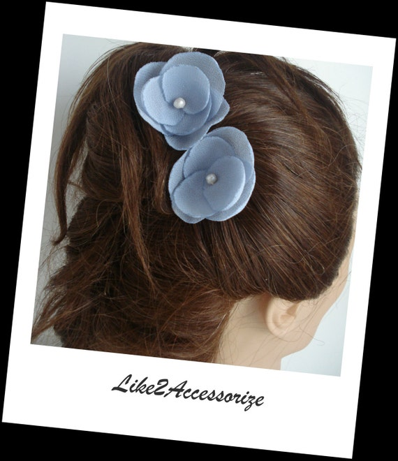 Blue Flower Clip Bobby Pin Bridal Hair Piece Bridesmaid Gift Wedding Hair Accessories Set of Two Wedding Flowers for Hair Bridal Hair Flower