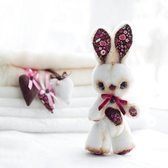 Art doll  Bunny - Handmade Fur Bunny, OOAK - Gift -Home deco