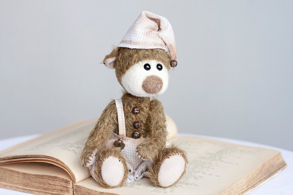 SALE - 20% off Collectible mohair teddy bear Rusty- Artist Bear OOAK - Back to school - Desk accessory
