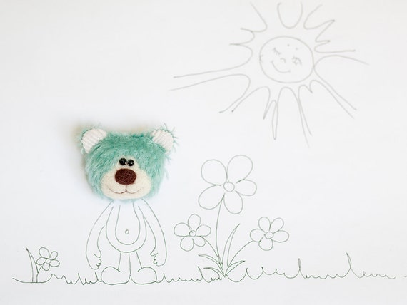 Mohair Teddy bear face brooch - Fun felt brooch