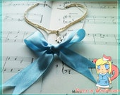 Blue Bow Necklace with White Rabbit Charm with Pearls