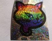Rainbow Vintage Glitter Cat Sticker