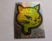 Yellow Vintage Glitter Cat Sticker