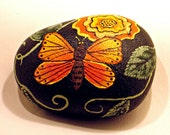 Butterfly and Flower Rock hand painted