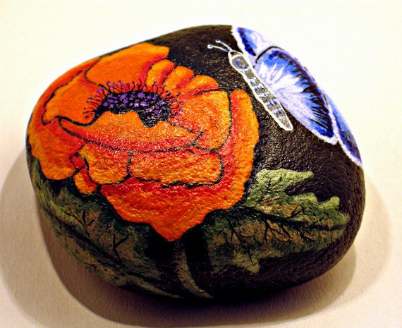 Flower and Butterfly Garden Rock hand painted