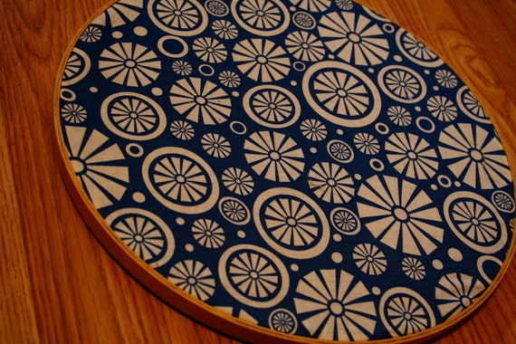 Fabric hoop blue white modern design wall hanging - Cloth wall hanging designs ...