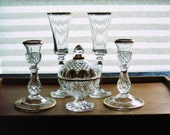 Gold Banded Crystal Champagne Flutes, Candle Sticks and Candy Dish
