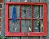 custom old window jewelry holder or picture frame with chicken wire.