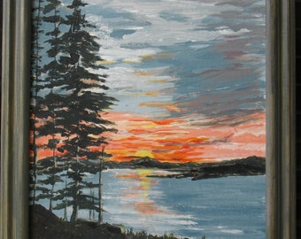 Original Painting of a Downeast Sunset, a colorful view of the bay