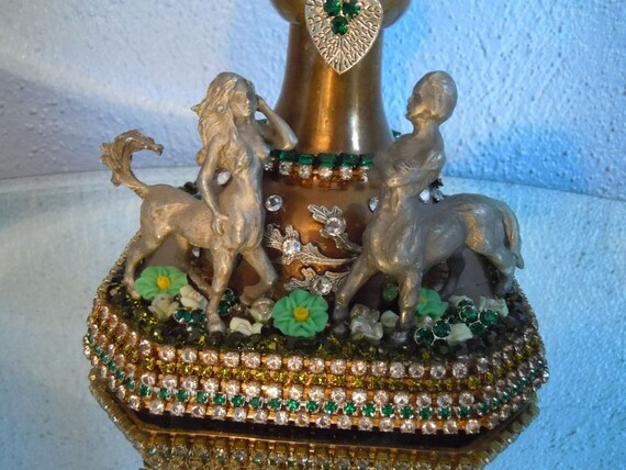 Brass candlestick - Over a foot and a half tall with green candlecup, crystal decorated - Pewter Centaurs, artist signed