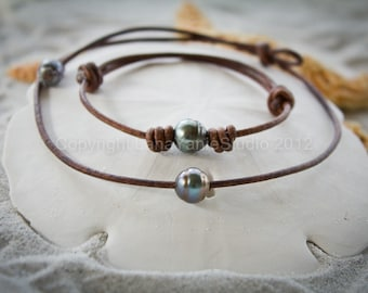 Tahitian pearl leather necklace bracelet - black pearl leather bracelet - Tahitian pearl - leather and pearl jewelry