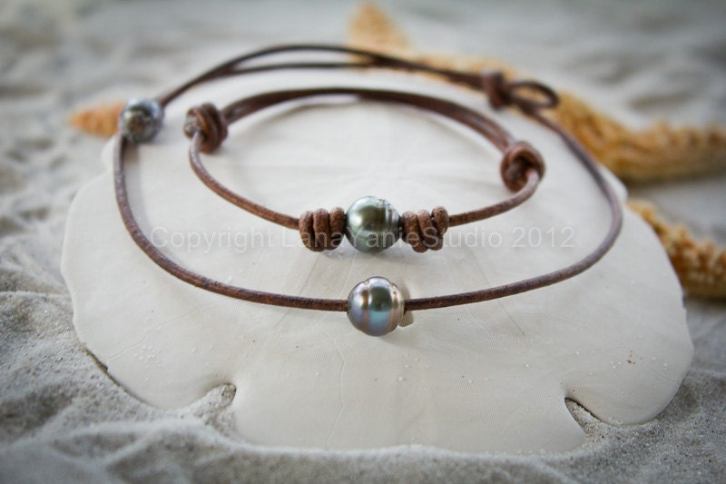 tahitian pearl leather necklace bracelet black pearl leather