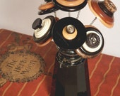 30% OFF! CURVES and ANGLES Vintage Button Arrangement in Shaker Black Brown Gold Cream