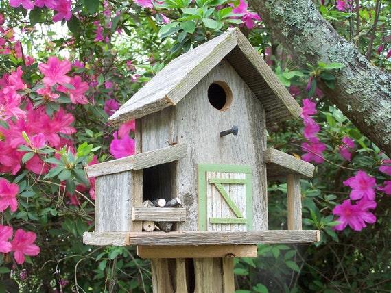 Weathered Cedar Barn Style Birdhouse