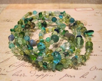 Assorted Blue and Green Glass Beaded Necklace/Bracelet
