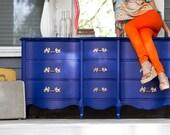 HOLD 9 Drawer Cobalt Blue Dresser with Bright Gold Ornate Pulls