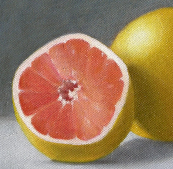 """RESERVED FOR CARLA Oil painting, still life, """"Grapefruit,"""" oil on canvas"""