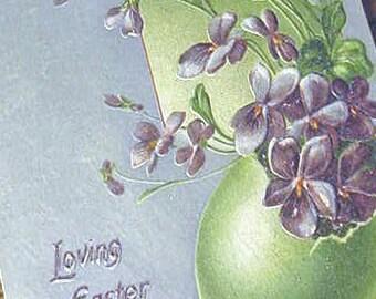 POSTCARD Easter Vintage 1912 Tuck Violets Egg Original