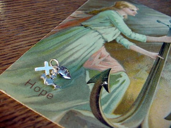 VINTAGE Sterling Silver Charms Faith Hope and Charity