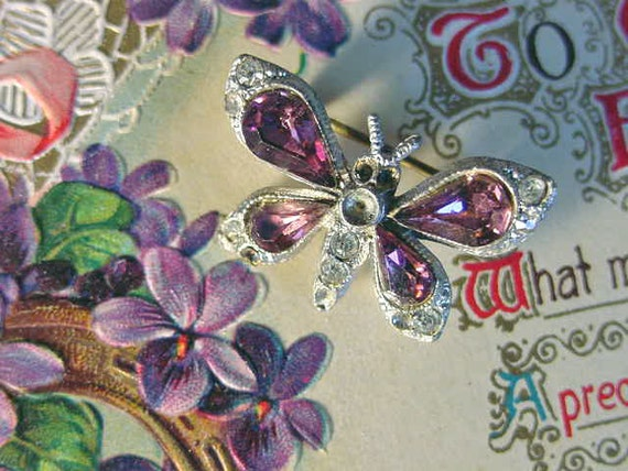 Mothers Day BUTTERFLY Pin Brooch Vintage PURPLE cut Stones Spring is Here