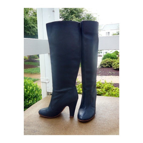 Sexy knee high NAVY blue leather boots Aldo 38 by CuratedCloset